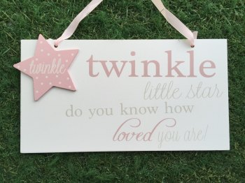 Twinkle Twinkle Large Plaque Pink