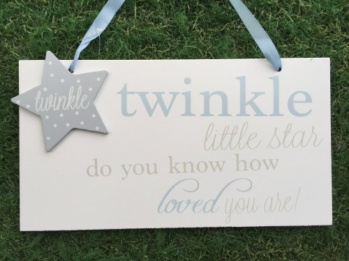 Twinkle Twinkle Large Plaque Blue