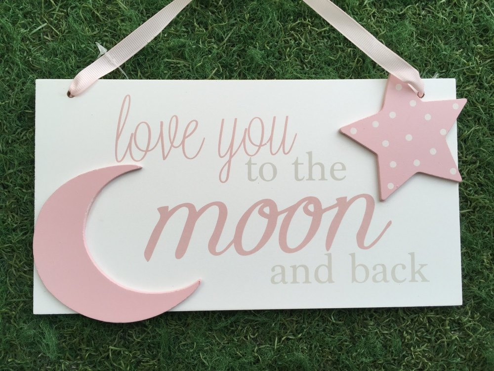 Moon And Back Large Plaque Pink