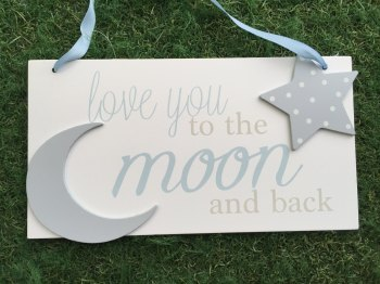 Moon And Back Large Plaque Blue