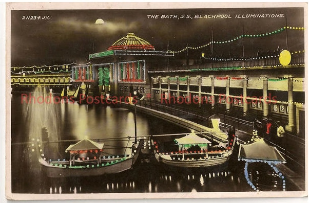 Lancashire: Blackpool, The Bath, SS Blackpool Illuminations 1930s RP