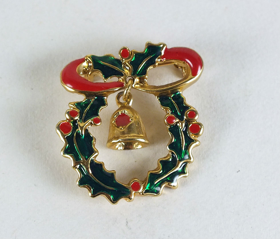 Christmas Holly Wreath & Bell Brooch
