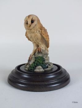Barn Owl Figurine By Country Artists / Stephen Langford, With Glass Dome & Base Stand, 1989