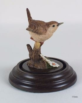 Vintage 1991 Wren Figurine By Country Artists / Stephen Langford, With Glass Dome & Base Stand