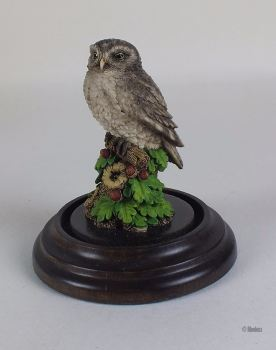 Little Owl Figurine By Country Artists / Stephen Langford (CA374), With Glass Dome & Base Stand, 1989