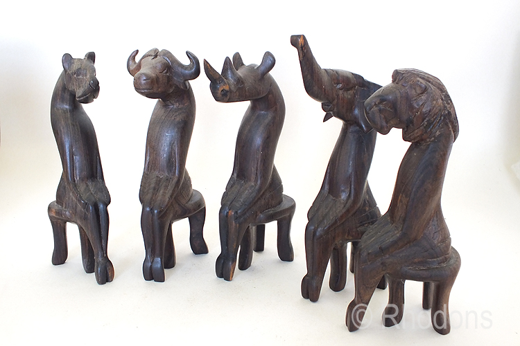 African Carved Wood Animal Figures x5, Elephant, Lion, Rhino, Cheetah, Water Buffalo