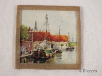 Thames Barge. Miniature Painted Panel Under Glass.