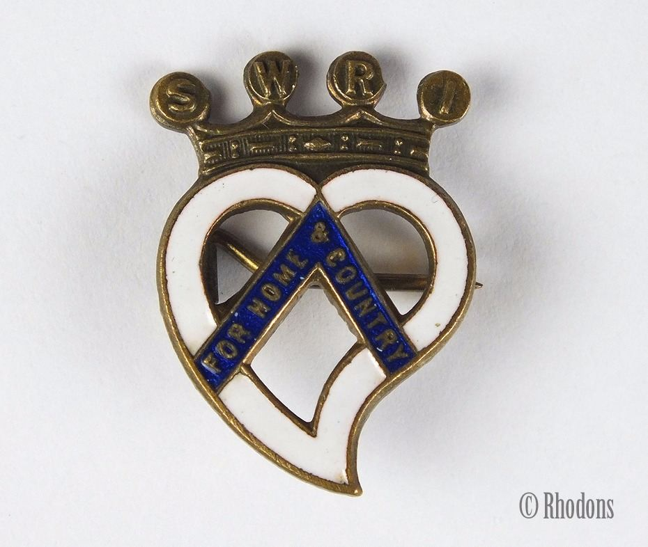 S W R I For Home & Country Enamel Badge