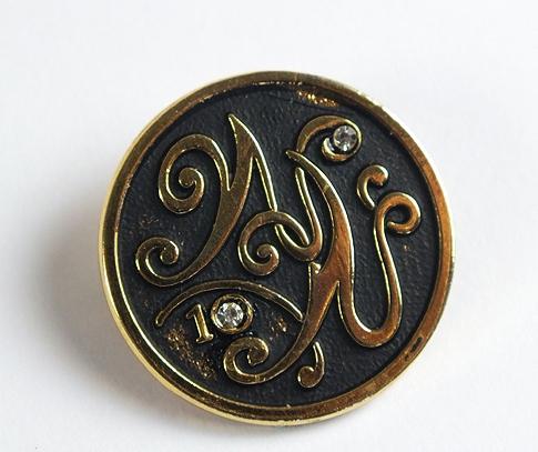 10 Year Service, Anniversary Diamante Set Badge / Brooch