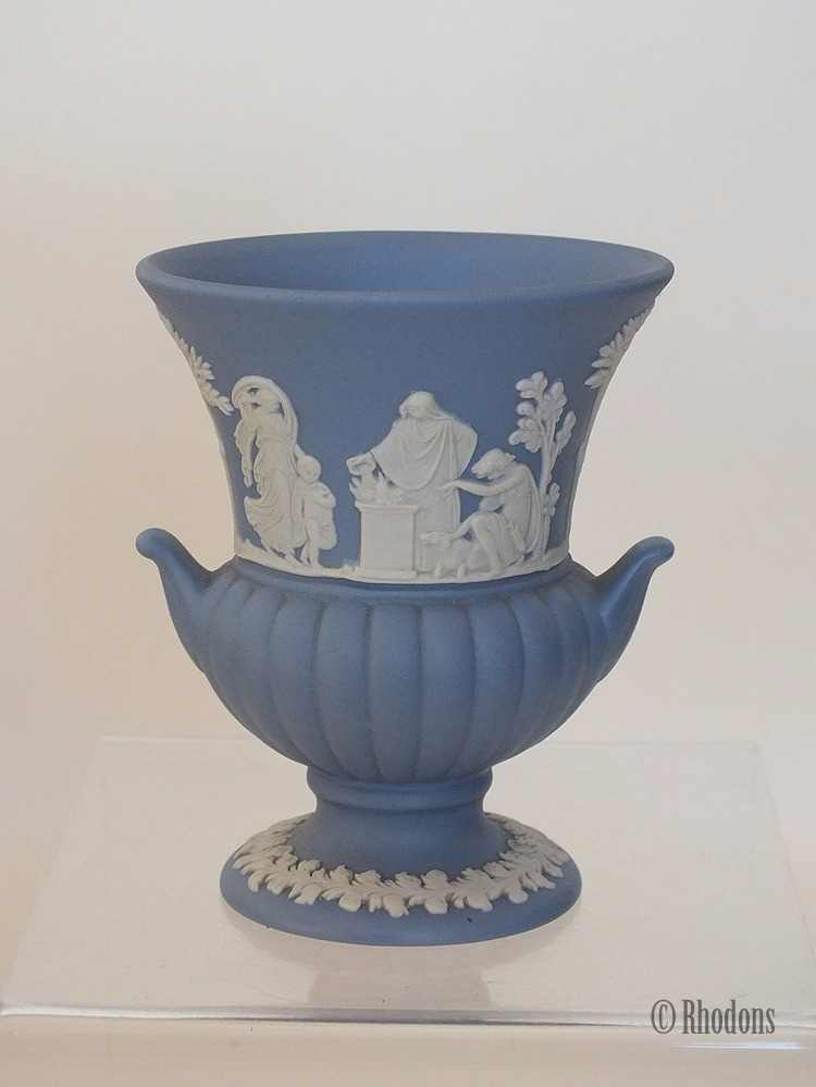 "Wedgwood Blue & White Jasperware Urn, 3.375"", 1960s"