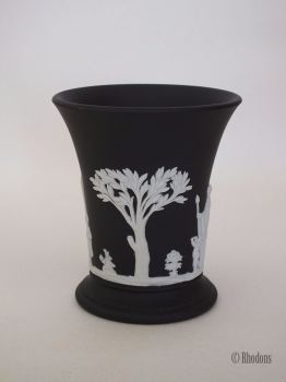 "Wedgwood Basalt Black Jasperware Waisted Vase 3.75"", 1968"