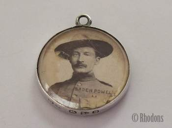 Antique Boer War Silver Necklace Pendant, Baden-Powell Photo, 1899