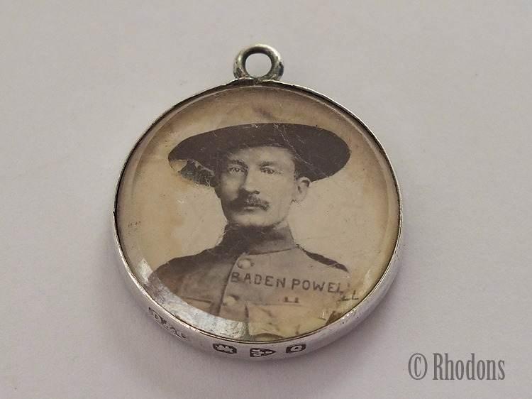 Antique Boer War Silver Necklace Pendant, Baden Powell Photo, 1899