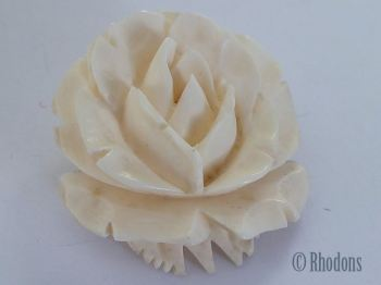 Vintage Carved Bone Rose Brooch