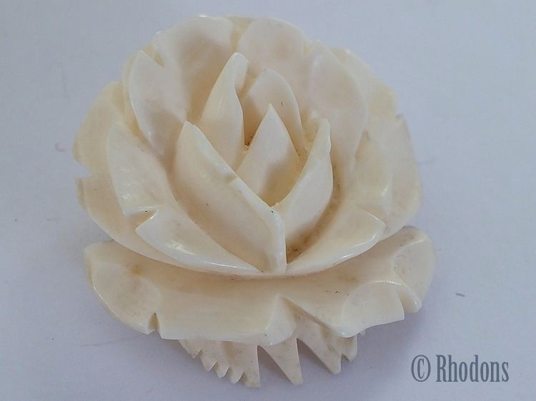 Carved Bone Rose Flower Brooch