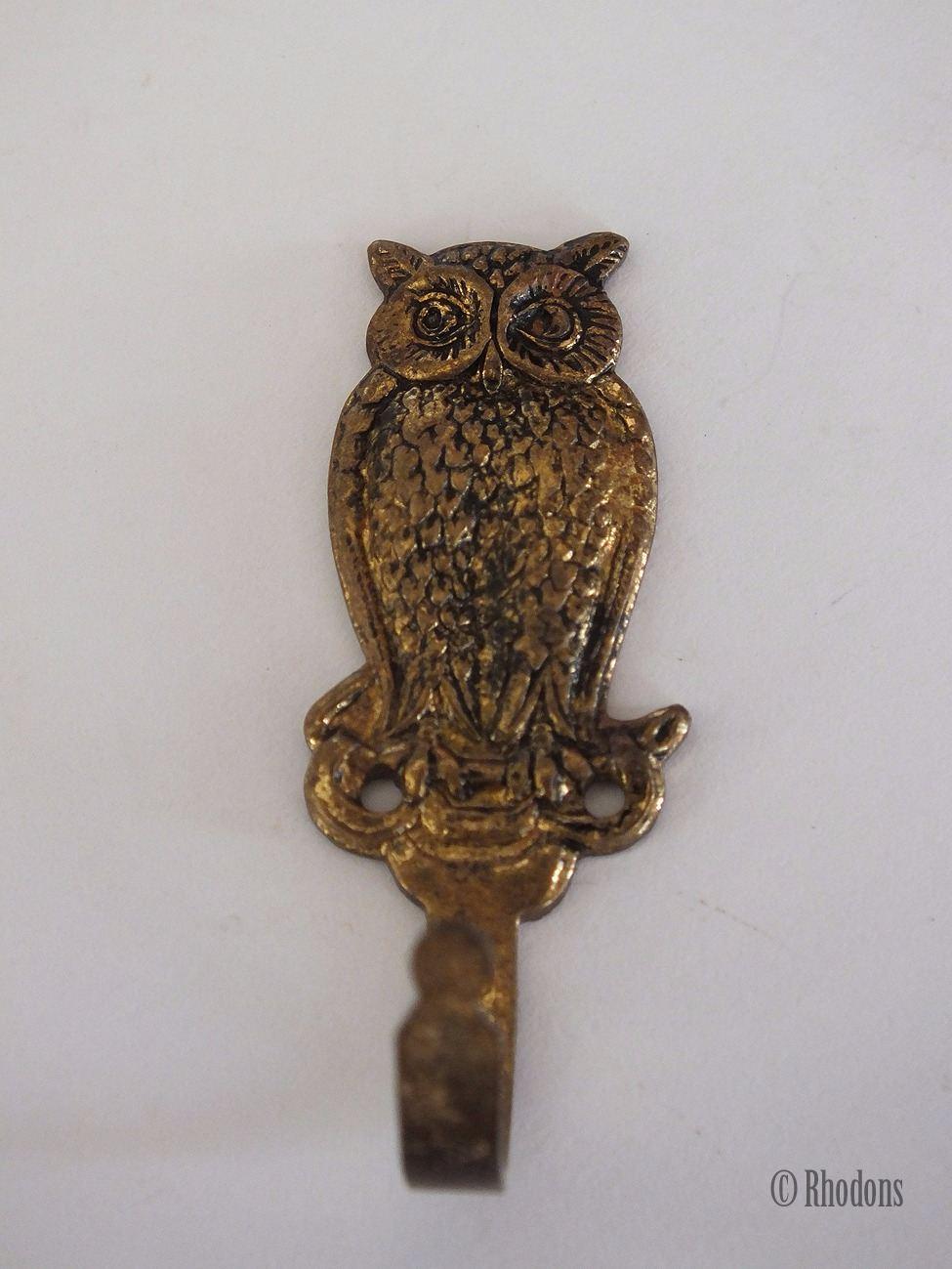 Small Brass Owl Coat Hook Vintage Metalware