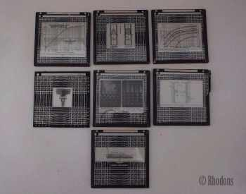 Magic Lantern Slides x7, Scientific, Technical Drawings