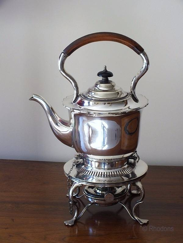 Victorian / Edwardian Silver Plated Spirit Kettle & Burner