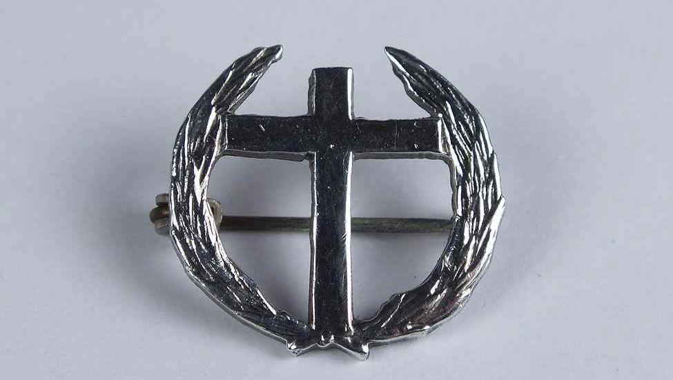 Sterling Silver Crucifix & Laurel Wreath Brooch Lapel Pin Badge
