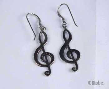 925 Sterling Silver Treble Clef Musical Note Drop Earrings