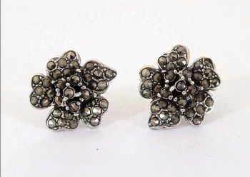 Marcasite and Silver Stud Earrings, 925 Sterling Silver Backed