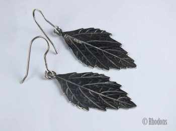 Vintage Sterling Silver Leaf Drop Earrings By Tony Michael Holland, Edinburgh 1992