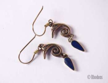 Egyptian Revival Drop Earrings, Gilt / Goldtone With Blue Stones