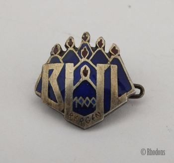 Norwegian 925 Silver & Enamel Pin Badge, BUL Bergen 1909