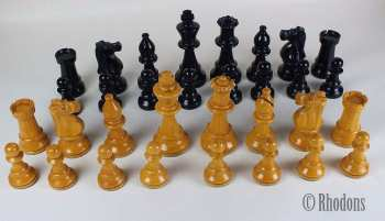 "Staunton Pattern Chessmen, Weighted. 3.50"" King, Early 20th Century"