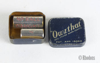 Owzthat Cricket Game With Tin - Rare 1932 PAT APP 18960 Version