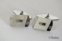 Cufflinks, Vintage Art Deco Chromed Mens Cuff Links
