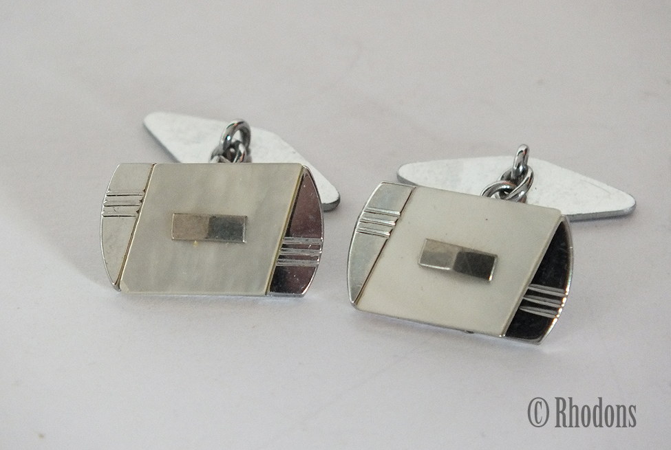 Vintage Art Deco Design Chromed Metal Cufflinks