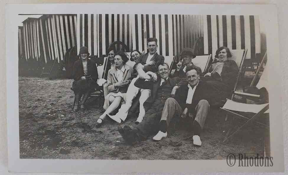 Family Group On Beach, Deck Chairs &  Beach Huts - c1920/30s