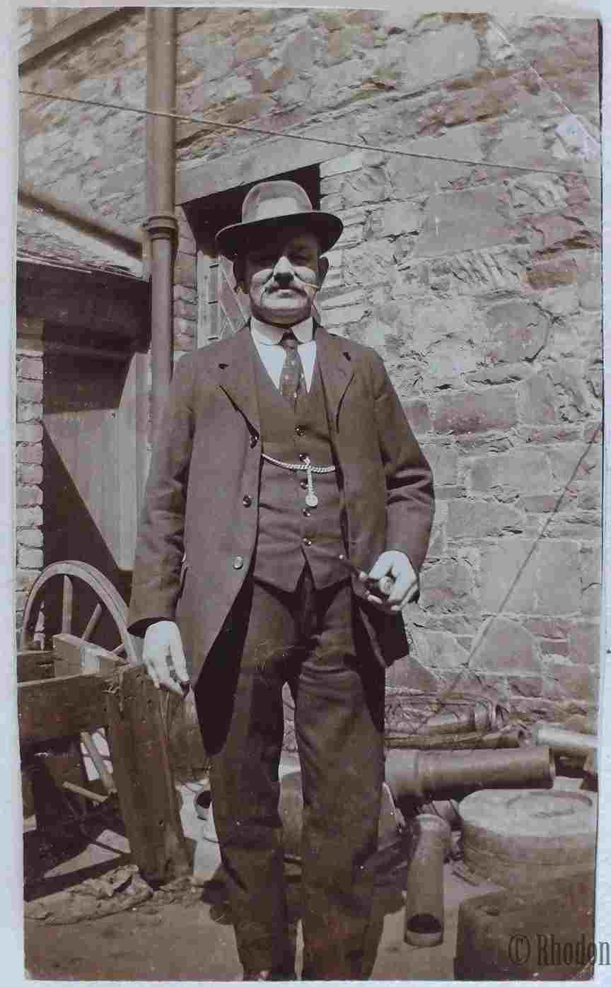 Old Photo - Gentleman With Hat Standing In Industrial Yard - Circa 1930/40s