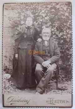 Victorian Cabinet Photo Old Scottish Lady & Gentleman, Leith, Scotland