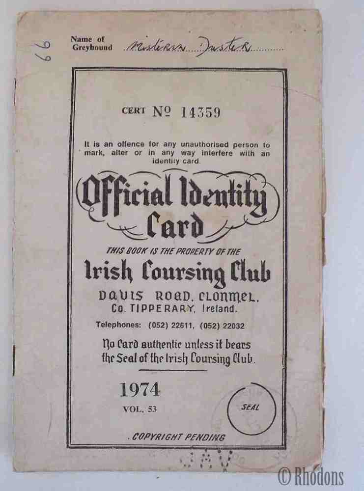 Irish Coursing Club (ICC) Official ID Card,1974