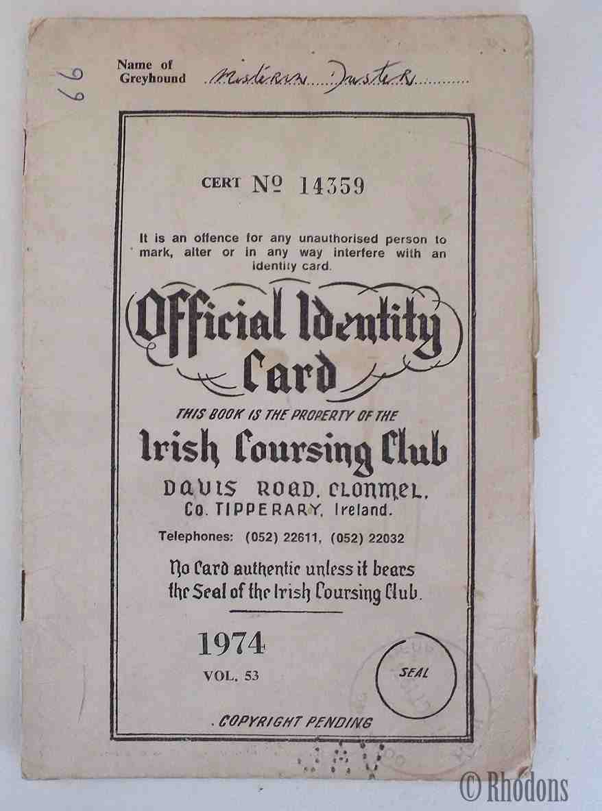 1974 Irish Coursing Club (ICC) Official ID Card