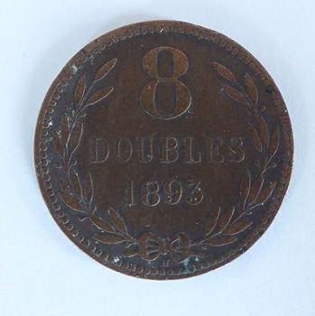 Guernsey 8 Doubles Copper Coin, 1893