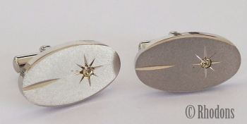 Cufflinks, Vintage Silvertone Oval Shape, Circa 1980s