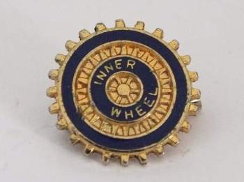 Rotary Club Inner Wheel Lapel Pin Badge, Gilt With Enamels
