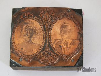 Vintage Print Block, King George V and Queen Mary