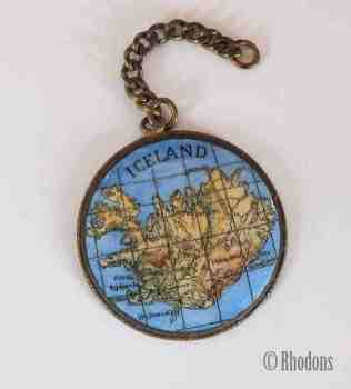 Brass & Enamel Key Chain Fob, Map of Iceland
