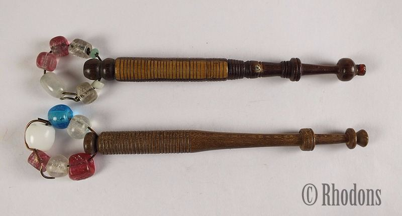 Antique Turned Wood Lace Making Bobbins With Spangles. Lot of 2