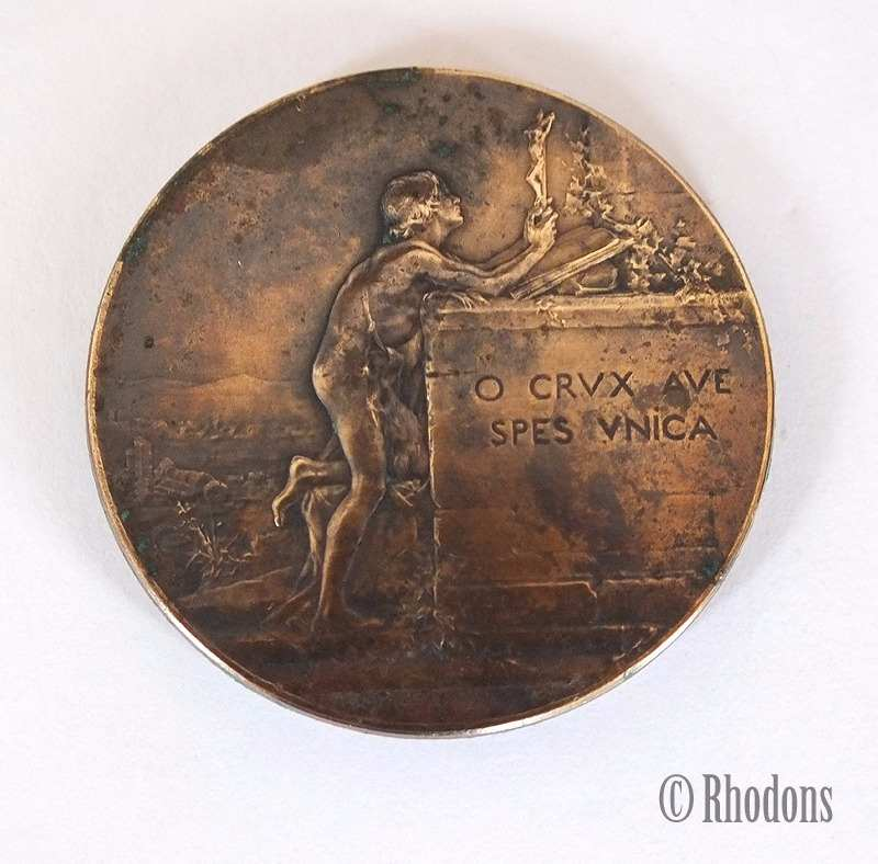 Bronze Religious Medal, O Crux Ave Spes Unica, Signed Dupre. Late 1800s / Early 1900s