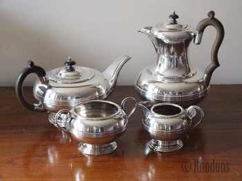 Antique 4 Piece Tea Service, Harrowby Plate, Silver On Copper, Early / Mid 1900s