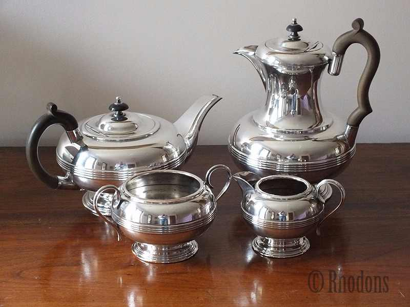 Antique 4 Piece Tea Service, Harrowby Plate, Silver On Copper