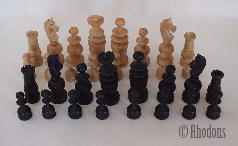 French Regence Pattern Chessmen, 83mm King, Early 20th Century, With Box, N