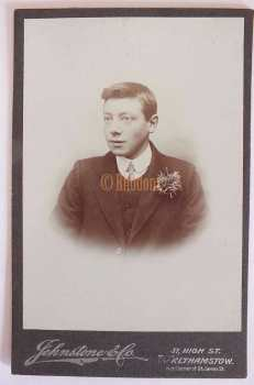 Victorian Cabinet Photo, Young Man With Buttonhole Flower, Johnstone & Co, Walthamstow