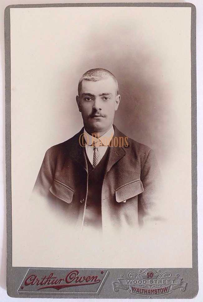 Victorian Cabinet Photo, Young Man With Moustache, Arthur Owen, Walthamstow