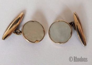 Cufflinks, Vintage Mens Gilt Metal & Mother Of Pearl Cuff Links